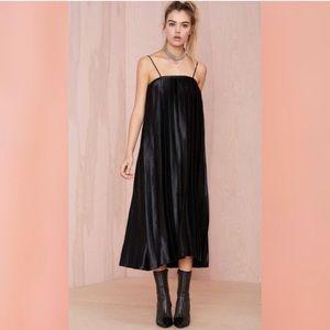 Nasty Gal Black Pleated Faux Leather Trim Dress